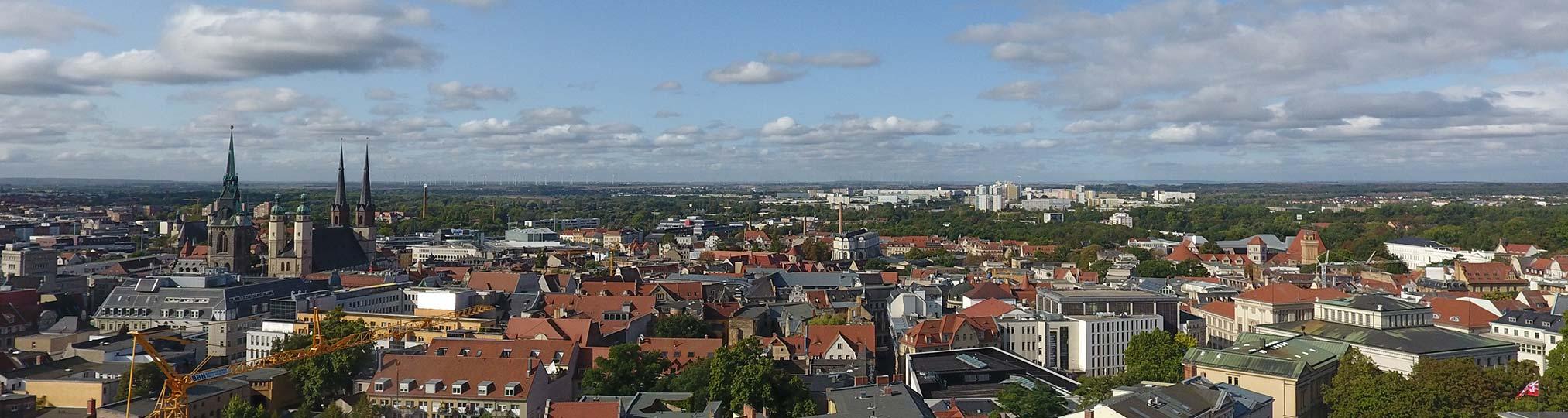 Stadt Halle von oben